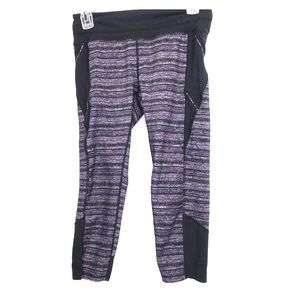 Athleta black purple heathered cropped legging Sm
